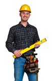 Isolated young worker with tools 03 Stock Photography