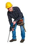 Isolated young worker with tools 04. Isolated young worker with tools background Royalty Free Stock Photography