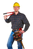 Isolated young worker with tools 4. Isolated young worker with tools background Royalty Free Stock Photo