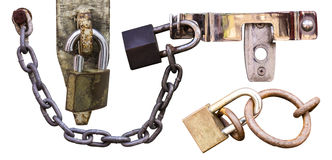 Isolates chain lock. Isolates of the different chain lock and one was severely cut royalty free stock image