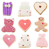 Isolates cookies for Valentines Day. Cookies for Valentines Day over white Royalty Free Stock Photos