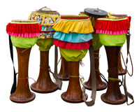 Isolates the drum Thailand. Which are furnished with colorful rag royalty free stock photos