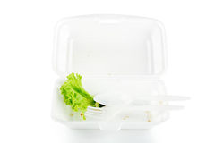 Isolates of foam boxes with scraps left over. From eating stock photo