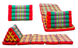 Isolates folding mattresses. And pillows with patterned Thailand royalty free stock images
