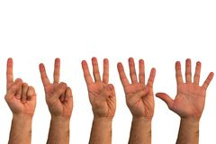 Isolated male hands on a white background. Counting on one to fi stock photos