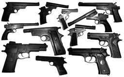 Isolates many weapons pistol. Stock Photo