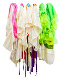 Isolates of skirt, hanging. Isolates of skirt, which is made of many colorful rag hanging stock images