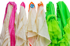 Isolates Skirt. Which is made of many colorful rag hanging stock photography