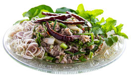 Isolates spicy minced pork. With lemongrass and mint leaves to eat healthy stock photos