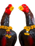 Isolates of the statue, a black chicken. Royalty Free Stock Images