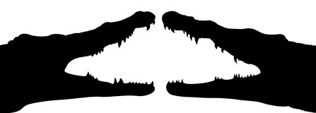 Isolates two black crocodile mouth. Royalty Free Stock Photos