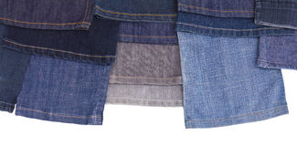 Isolates of various leg jeans. Stock Photos