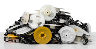 Isolates of VHS tape pile. Isolates of VHS tape is not used to bring together a pile of clutter stock photography