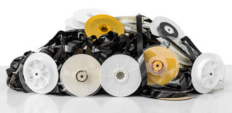 Isolates of VHS tape pile Royalty Free Stock Photography