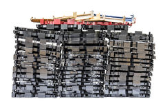 Isolates of VHS video cassette. Was disassembled piles in a row together stock photos