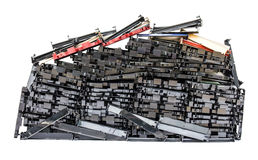 Isolates of VHS video cassette. Was disassembled piles in a row together stock photo