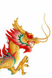 Isolatie van een kleurrijk gouden draakbeeldhouwwerk Stock Afbeeldingen