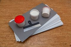 Isolating panels and building materials. Isolating panels for the economy of heat, building materials for repair of houses and apartments stock image
