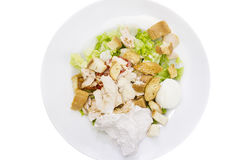 Isolation Caesar salad white plate vegetables sauce tomato lettuce croutons Parmesan cheese chicken egg Royalty Free Stock Photo