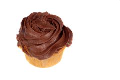 Isolation of a chocolate frosted cupcake Stock Photos