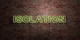 ISOLATION - fluorescent Neon tube Sign on brickwork - Front view - 3D rendered royalty free stock picture Stock Photography