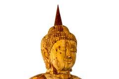 Isolation of head buddha carving. Gold teak wood, Thai art style Royalty Free Stock Photography
