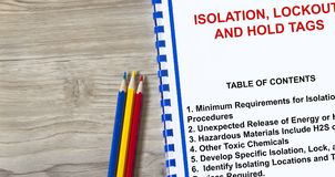 Isolation, lockout and hold tags concept. Many uses in the oil and gas industry Royalty Free Stock Image