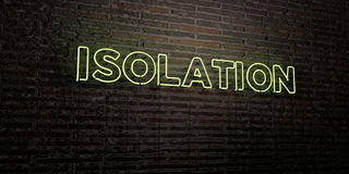 ISOLATION -Realistic Neon Sign on Brick Wall background - 3D rendered royalty free stock image Stock Image