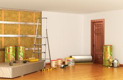 Isolation and sound insulation of walls. Renovation interior. 3D illustration Royalty Free Stock Photos