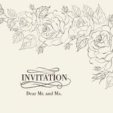 Isolation vintage frame from flowers roses. Vector illustration Stock Photo