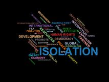 ISOLATION - word cloud wordcloud - terms from the globalization, economy and policy environment Stock Image