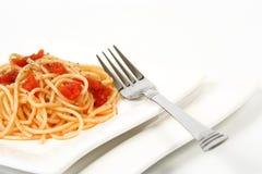 Isolationsschlauch mit tomatosauce stockbild