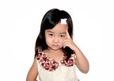 Isolato bianco di incidente della testa della ragazza dell'Asia Fotografie Stock Libere da Diritti