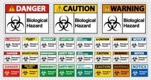 Isolato biologico messo del segno di simbolo di rischio su fondo bianco, illustrazione di vettore royalty illustrazione gratis