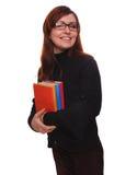 Isolato castana del libro di lettura dell'insegnante della ragazza dello studente di vetro della donna Immagini Stock