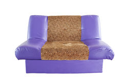 Isolato con il sofà di cuoio viola moderno Fotografie Stock