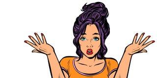 Isolato confuso di gesto della donna su fondo bianco illustrazione vettoriale