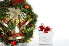 Isolato del contenitore di regalo e di corona su fondo bianco Fotografia Stock Libera da Diritti