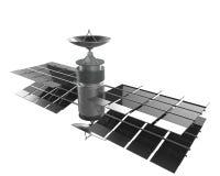 Isolato del satellite di telecomunicazioni, percorso di ritaglio Fotografia Stock Libera da Diritti