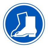 Isolato del segno di protezione del piede di usura di simbolo su fondo bianco, illustrazione ENV di vettore 10 illustrazione vettoriale