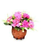 Isolato della merce nel carrello dei fiori artificiali su bianco Fotografia Stock Libera da Diritti