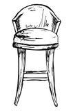 Isolato della sedia di Antivari su fondo bianco Illustrazione di vettore in uno stile di schizzo Immagini Stock