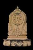 Isolato della statua di dharamacakra Fotografia Stock