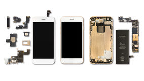 Isolato delle componenti di Smartphone su bianco fotografie stock