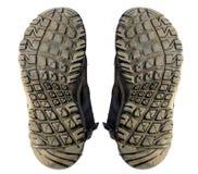 Isolato delle suole di scarpa vecchio Fotografia Stock
