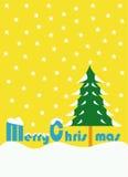 Isolato di giorno di Buon Natale con fondo giallo Fotografia Stock