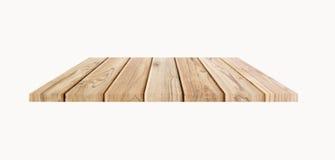 Isolato di legno dello scaffale su bianco Fotografie Stock