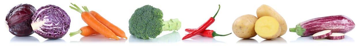 Isolato di verdure del cavolo delle patate dell'alimento fresco delle carote delle verdure Immagine Stock Libera da Diritti