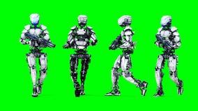 Isolato futuristico del robot sullo schermo verde 3d realistici rendono illustrazione di stock