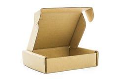 Isolato marrone del contenitore di cartone Immagini Stock